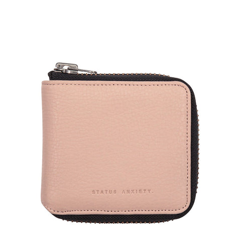 STATUS ANXIETY THE CURE LEATHER ZIP WALLET DUSTY PINK