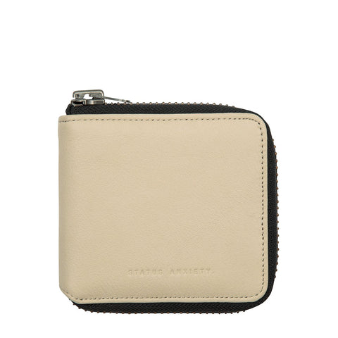 STATUS ANXIETY THE CURE LEATHER ZIP WALLET NUDE BEIGE