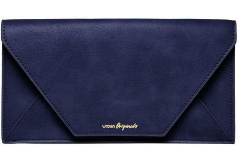 URBAN ORIGINALS Time Traveller Vegan Leather Travel Wallet Navy Blue