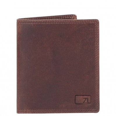ZOOMLITE Vintage Leather RFID Toby Folding Card Holder Wallet Brown