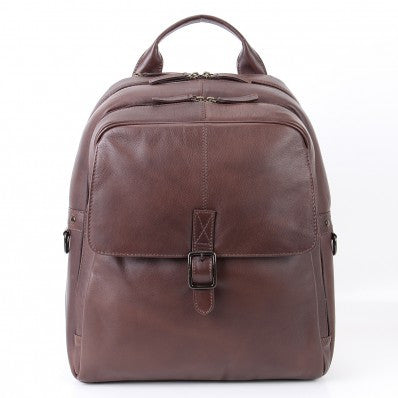 ZOOMLITE Soft Leather Toby Laptop Backpack Brown