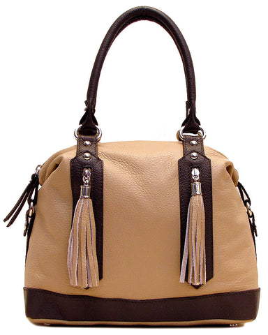 FLOTO Trastevere Leather Dome Satchel Bag Beige & Brown