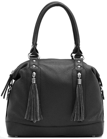 FLOTO Trastevere Leather Dome Satchel Bag Black