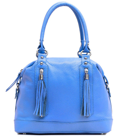 FLOTO Trastevere Leather Dome Satchel Bag Blue