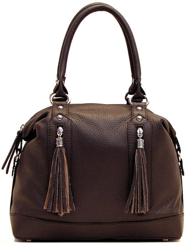 FLOTO Trastevere Leather Dome Satchel Bag Brown
