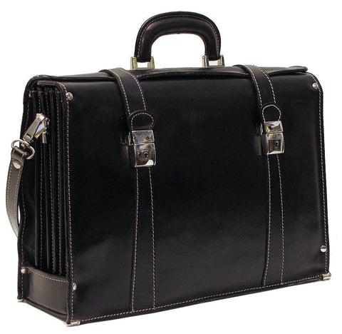 FLOTO Trastevere Leather Briefcase Black