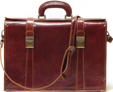 FLOTO Trastevere Leather Briefcase Vecchio Brown