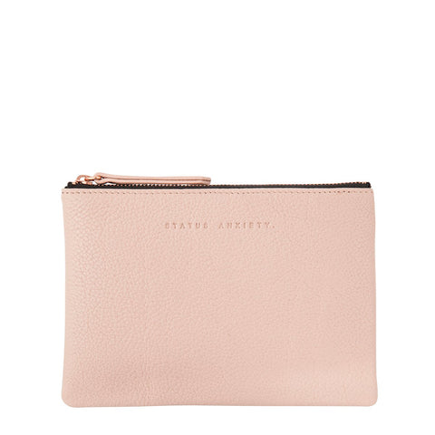 STATUS ANXIETY TREACHEROUS LEATHER POUCH WALLET DUSTY PINK