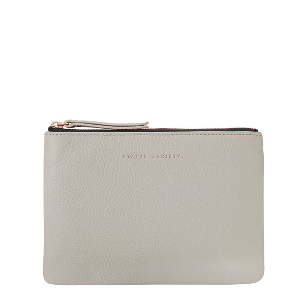 STATUS ANXIETY TREACHEROUS LEATHER POUCH WALLET LIGHT GREY