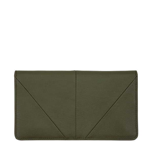 STATUS ANXIETY TRIPLE THREAT LEATHER POUCH WALLET KHAKI GREEN