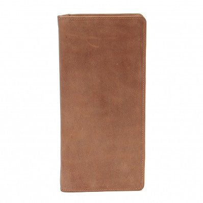ZOOMLITE Vintage Leather RFID Texas Ziparound Travel Wallet Camel