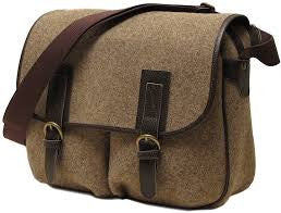 FLOTO Leather & Wool Blend Vaggo Messenger Bag Brown