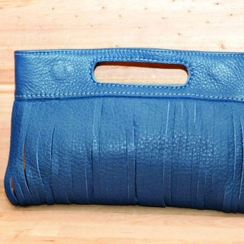 PIGEONHOLE Vanessa Blue Sliced Leather Clutch