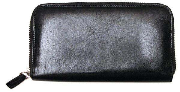 FLOTO Venezia Leather Zip Wallet Black