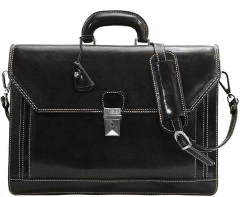 FLOTO Leather Venezia Briefcase Black
