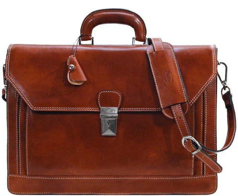 FLOTO Leather Venezia Briefcase Olive Honey Brown