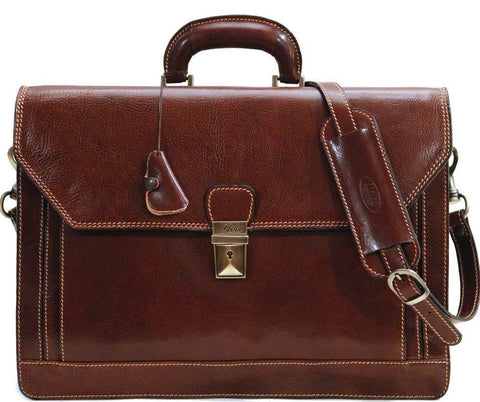 FLOTO Leather Venezia Briefcase Vecchio Brown