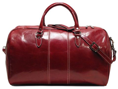 FLOTO Venezia Leather Duffle Tuscan Red