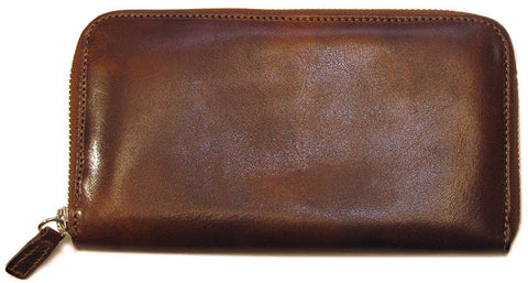 FLOTO Venezia Leather Zip Wallet Vecchio Brown