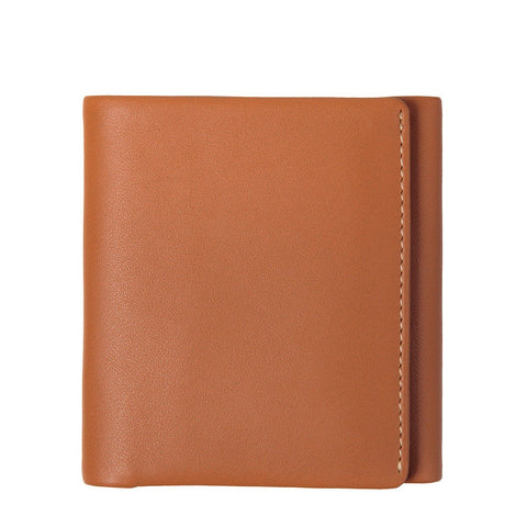 STATUS ANXIETY VINCENT LEATHER TRI-FOLD WALLET CAMEL BROWN