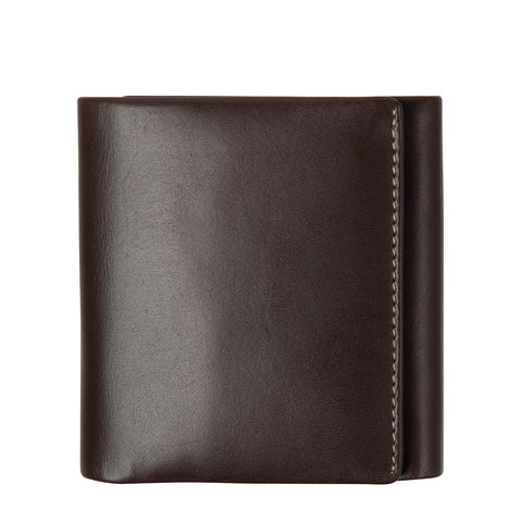 STATUS ANXIETY VINCENT LEATHER TRI-FOLD WALLET CHOCOLATE BROWN