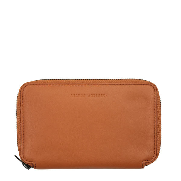 STATUS ANXIETY VOW LEATHER TRAVEL WALLET CAMEL BROWN