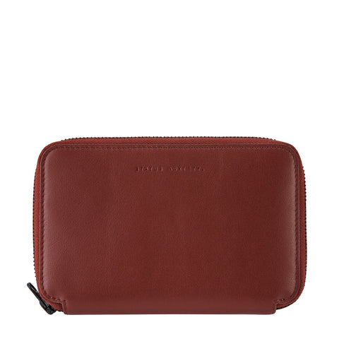 STATUS ANXIETY VOW LEATHER TRAVEL WALLET COGNAC RED