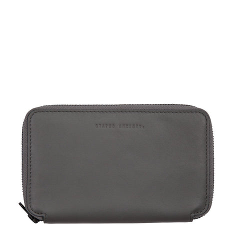 STATUS ANXIETY VOW LEATHER TRAVEL WALLET SLATE GREY