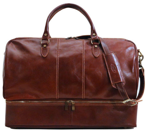 FLOTO VENEZIA TRAVELER LEATHER DROP BOTTOM DUFFLE BAG VECCHIO BROWN