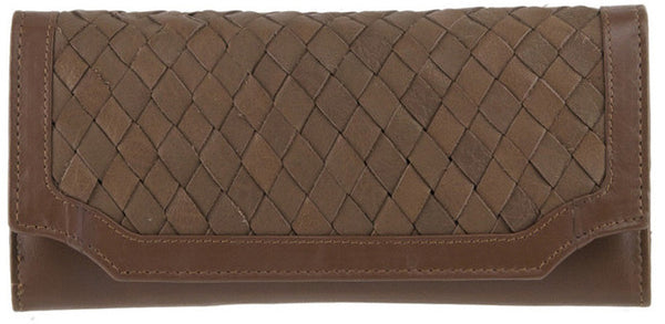 MANZONI Leather Woven Wallet W541CR Cocoa