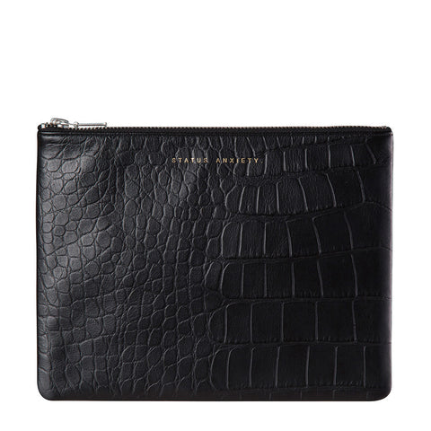 STATUS ANXIETY Antiheroine Leather Clutch Black Croc