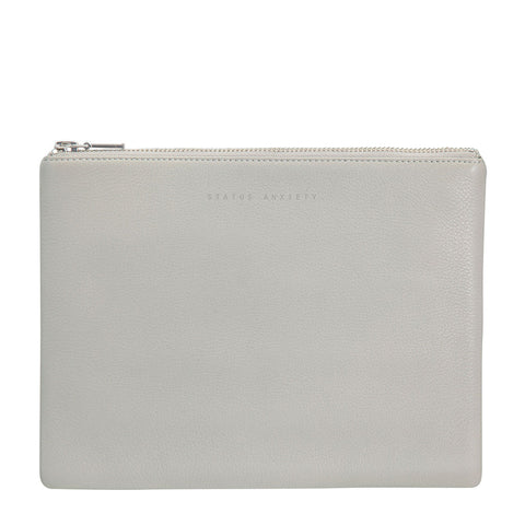 STATUS ANXIETY Antiheroine Leather Clutch Light Grey