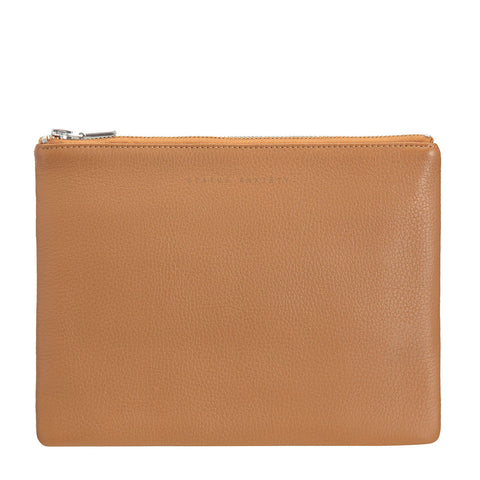 STATUS ANXIETY Antiheroine Leather Clutch Tan Brown