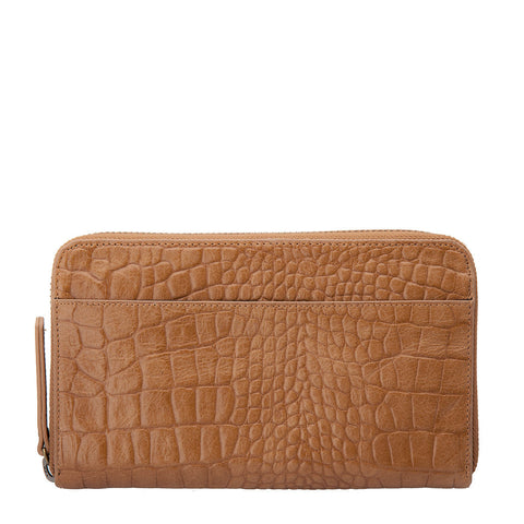 STATUS ANXIETY Delilah Leather Wallet Tan Croc