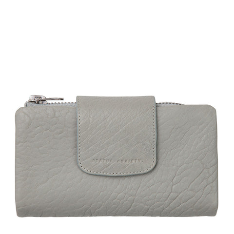 STATUS ANXIETY The Fallen Leather Wallet Light Grey