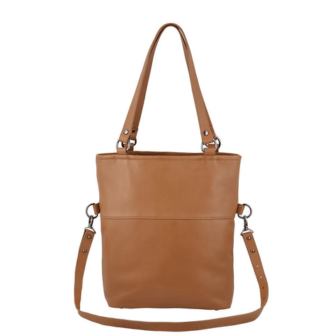 STATUS ANXIETY WASTELAND LEATHER TOTE BAG TAN WITH FREE WALLET