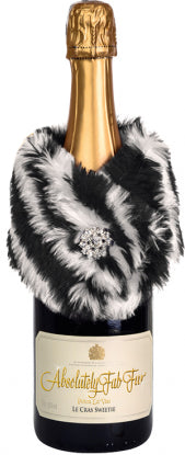 Absolutely Fab Fur Wine Stole Zebra