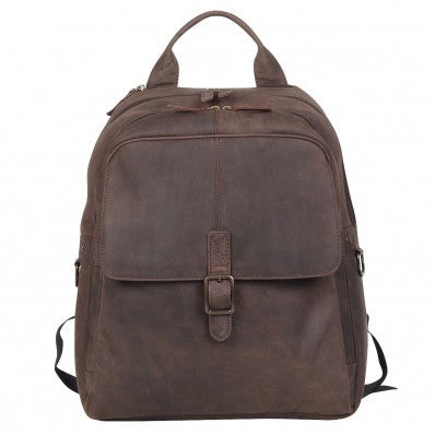 ZOOMLITE Vintage Leather Toby Laptop Backpack Brown
