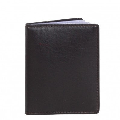 ZOOMLITE Classic Leather Boston Card Holder with Inserts Chocolate