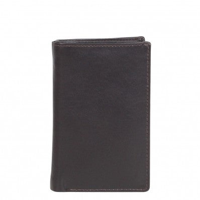 ZOOMLITE Classic Leather Boston Vertical Card Holder Chocolate