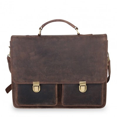 ZOOMLITE VINTAGE LEATHER NOAH DOUBLE POCKET LAPTOP BRIEFCASE BROWN