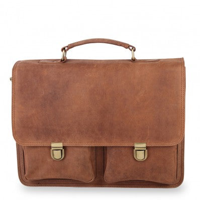 ZOOMLITE VINTAGE LEATHER NOAH DOUBLE POCKET LAPTOP BRIEFCASE CAMEL BROWN