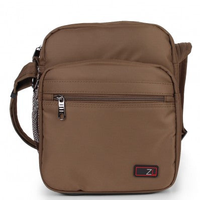 ZOOMLITE METROSHIELD ANTI-THEFT MESSENGER BAG KHAKI BROWN