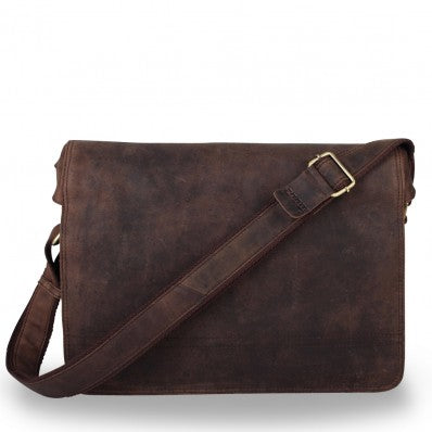ZOOMLITE VINTAGE LEATHER CAMBRIDGE LAPTOP MESSENGER BROWN