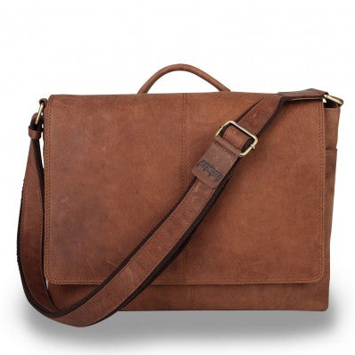 ZOOMLITE VINTAGE LEATHER PARKER iLAPTOP BAG CAMEL BROWN