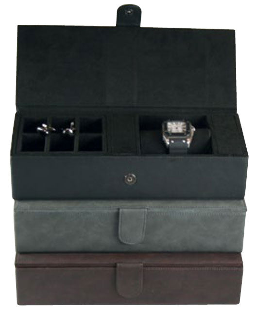 Milan Leather Cufflink & Watch Box