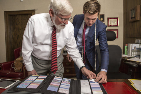 pick out your fabric fro your custom suit University of utah president