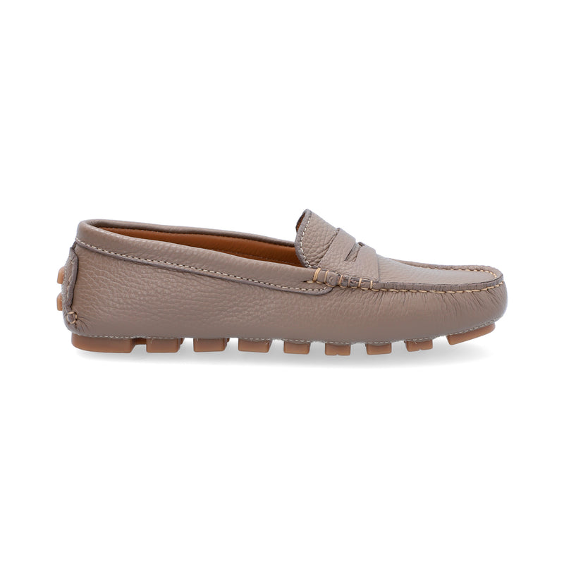 Mocasines Mujer Penny Cuero Taupe