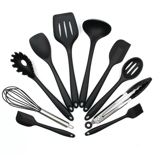 10 Piece Silicone Kitchen Tool Set - Black