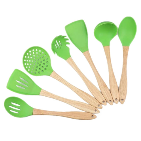 7 Piece Wood Handle Silicone Utensil Set - Green